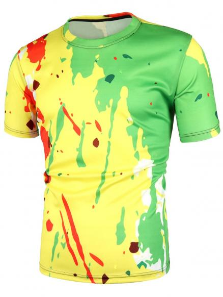 Splatter Printed Short Sleeves T-shirt
