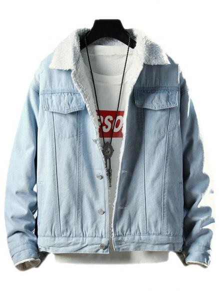 Fluffy Faux Fur Button Fly Denim Jacket