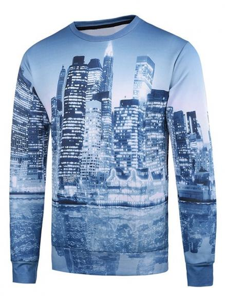 Crew Neck 3D Buildings Printed Long Sleeve Sweatshirt