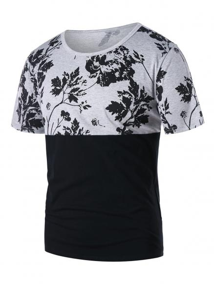 Panel Flower Print Crew Neck T-shirt