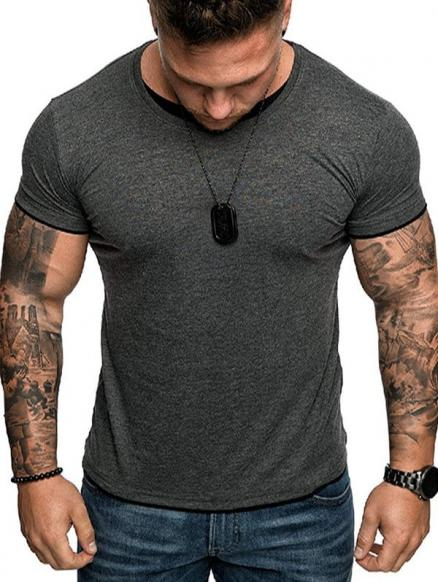 Short Sleeve Contrast Hem T-shirt