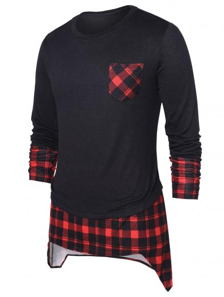 High Low Hem Checked Panel Top