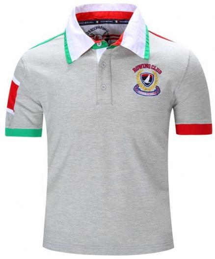 Turn-Down Collar Letters Badge Embroidered Color Block Spliced Short Sleeve T-Shirt For Men