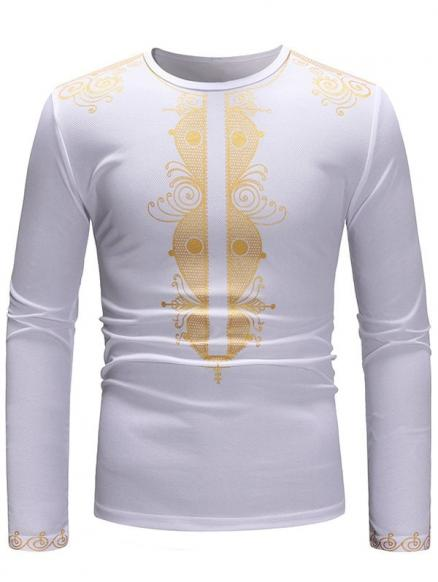 Golden Printed Long Sleeve T-shirt