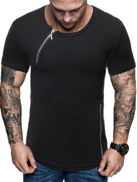 Zipper Decoration Casual Short Sleeves T-shirt