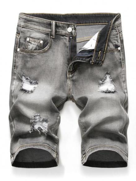 Zipper Fly Design Ripped Denim Shorts