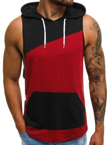 Color Spliced Hooded Tank Top