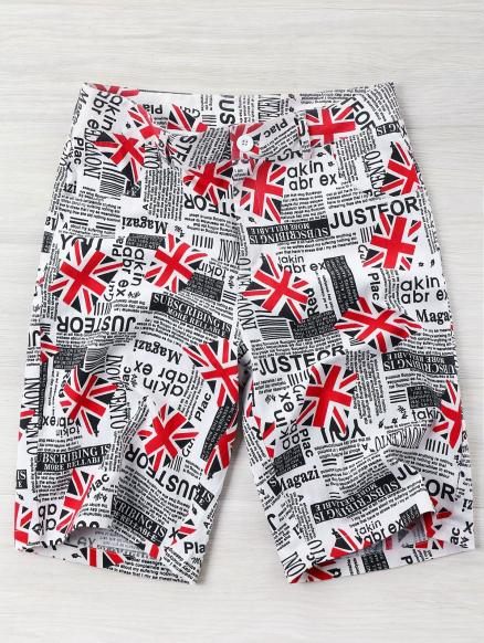 High Rise Union Flag Newspaper Print Shorts