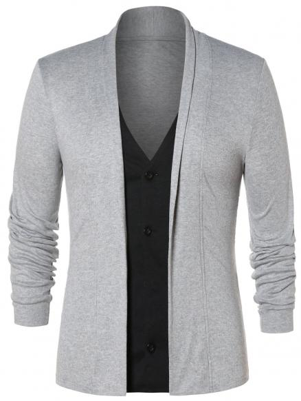 Faux Twinset Button Up Cardigan