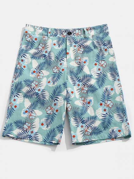 Flower Leaves Print Casual Shorts