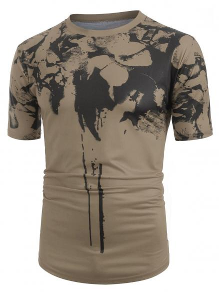 Ink Painting Splatter Print Short Sleeves T-shirt