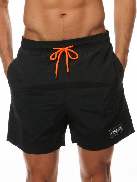 Letter Patched Drawstring Beach Shorts