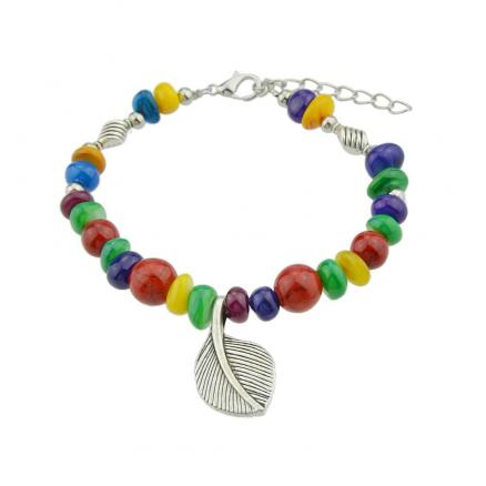 Bohemian Colorful Beads with Metal Leaf Bracelet