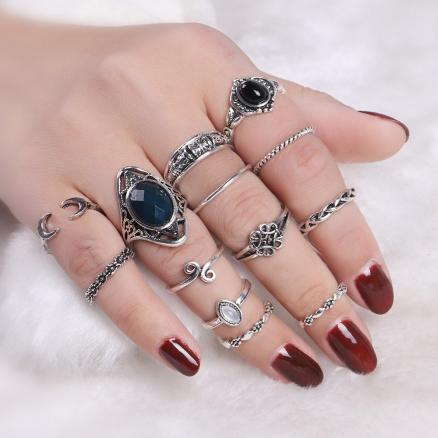 Vintage Moon Finger Cuff Ring Set