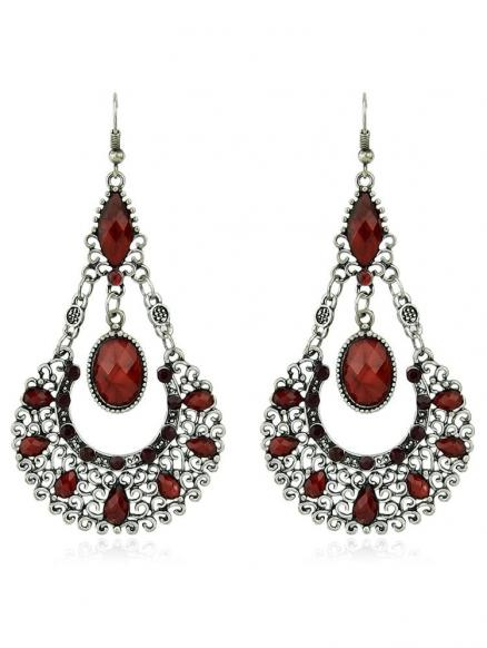 Hollow out Water Drop Stone Rhinestone Hanging Earrings
