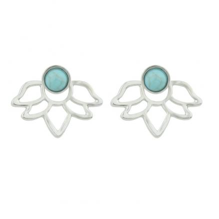 Gold Silver with Stone Flower Earrings For Women