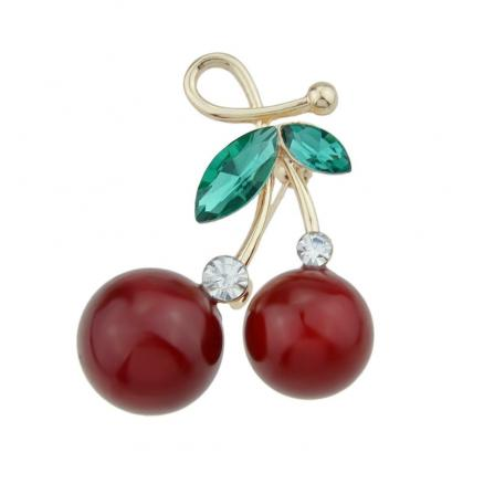 Red Cherry Brooches with Green Crystal for Lady and Girl