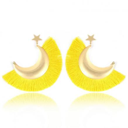 Exaggerate Big Sector Alloy Moon Star Drop Fringed Tassel Earings For Women