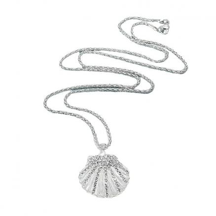 Fashion Gold Silver Jewelry Crystal Metal Shell Necklace For Women Girl