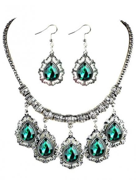 Vintage Water Drop Shape Artifical Gem Necklace Earrings Set
