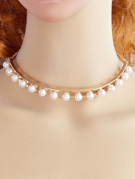 Alloy Faux Pearl Openwork Necklace