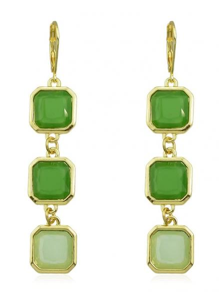 Faux Emerald Long Drop Earrings