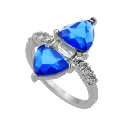 Silver Color with Blue Crystal Rhinestone Ring