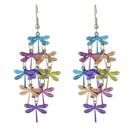 Multi-layer Colorful Dragonfly Drop Earrings
