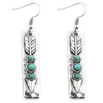 Arrow Shape with Stone Inlay Dangle Earrings