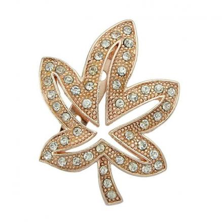 Maple Leaf Shape Faux Diamond Inlay Brooch Pin