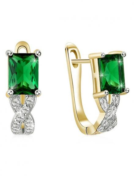 Vintage Rhinestone Inlaid Faux Emerald Latch Back Earrings