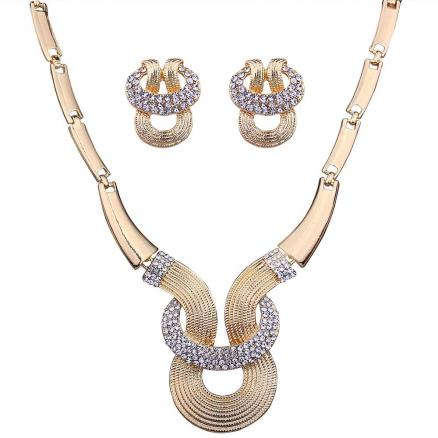 Alloy Rhinestone Inlay Embellished Necklace Earrings Set