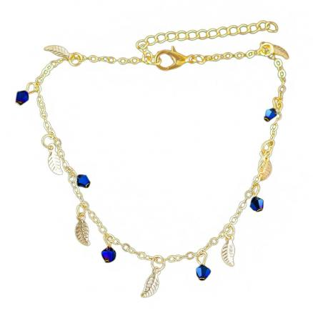 Minimalism Metal Chain with Leaf Beads Anklets
