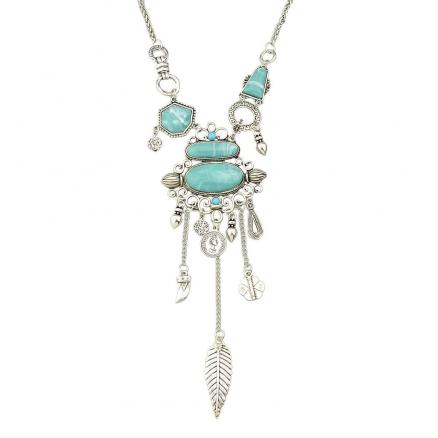 Vintage Turquoise Long Necklace for Women