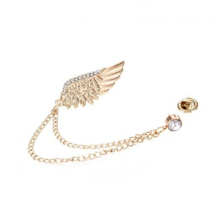 Fashion Brilliant Jewelry Vintage Metal Feather Wings Brooch For Women