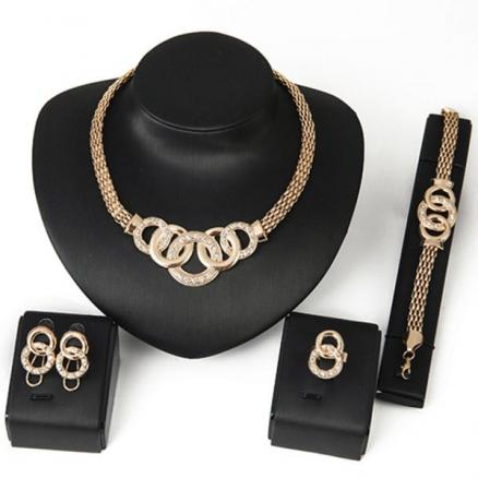 Rhinestone Annulus Embellished Necklace Bracelet Ring and Earrings Set