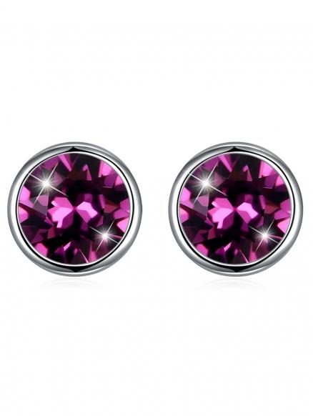 Vintage Crystal Inlay Silver Round Stud Earrings