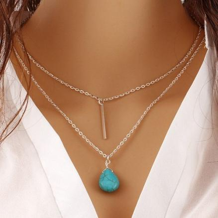 Faux Turquoise Water Drop Bar Layered Necklace