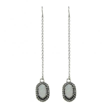 Antique Silver Color with Natural Stone Long Chain Earrings