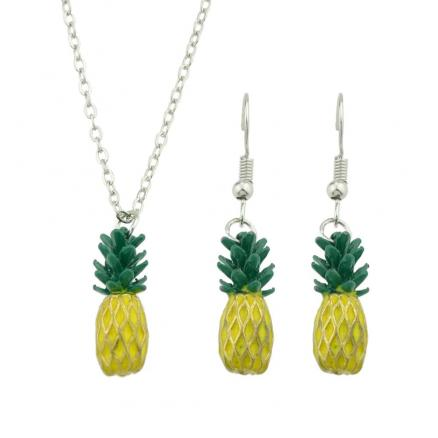 Green Yellow Enamel Pineapple Pendant Necklace and Earrings