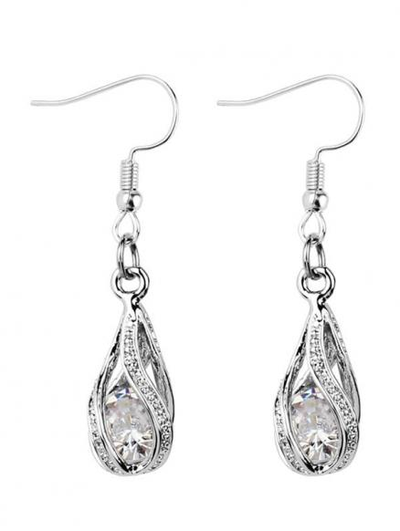 Faux Diamond Inlay Hollow Out Drop Earrings