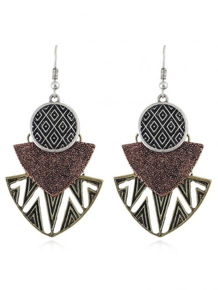 Round Hollow out Geomertic Shape Drop Earrings