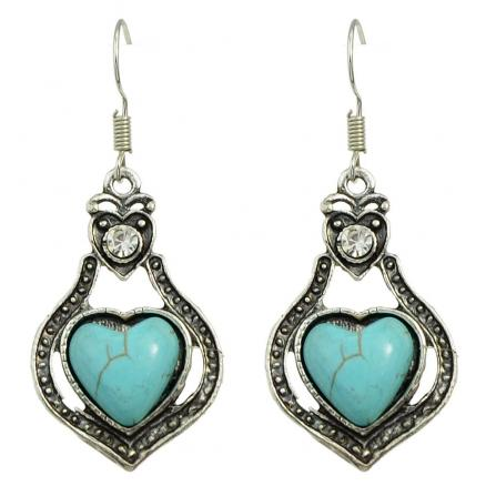 Silver Color with Stone Big Dangle Heart Earrings
