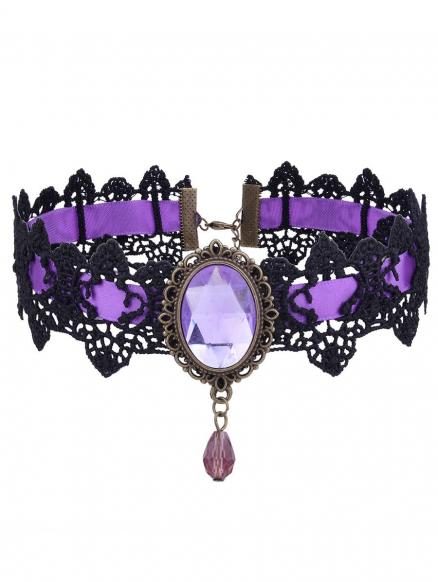 Gothic Artificial Gem Oval Lace Choker Necklace