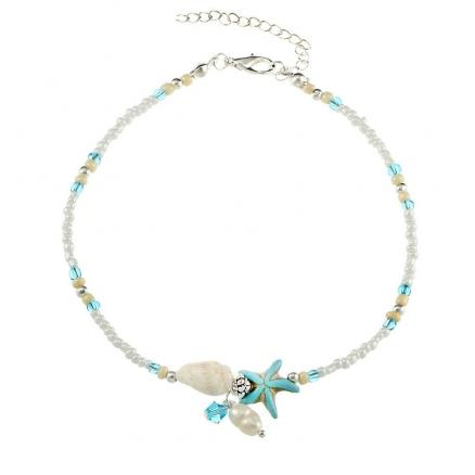 Conch Starfish Pendant Rice Bead Anklet