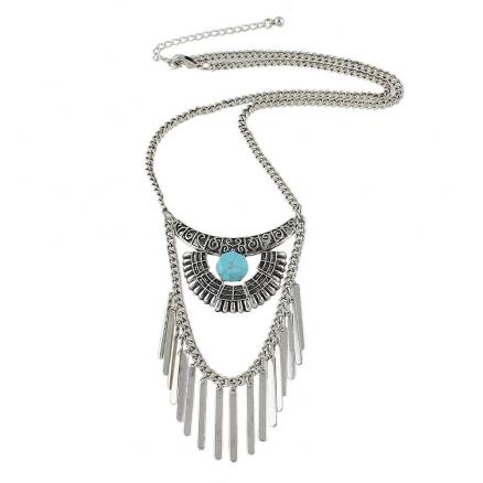 Fashion Ethnic Style Silver Color Necklace for Women