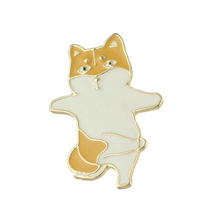 Gold-color with Enamel Cute Cat Brooches Pin