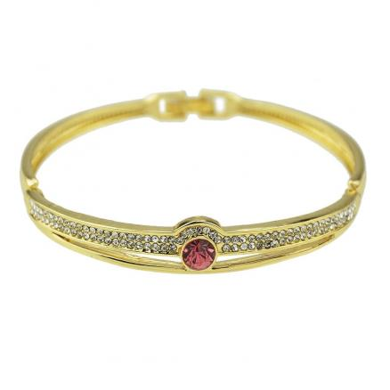 Fashion Style Gold Color Rhinestone Open Bangle