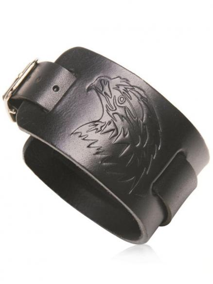 Unique Eagle Pattern Faux Leather Bracelet