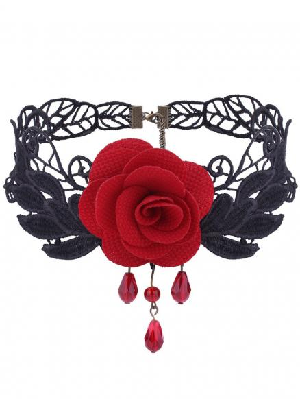 Gothic Knitted Leaf Flower Choker Necklace